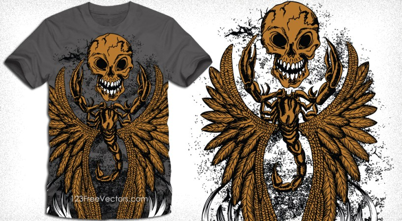 Scorpion, Wings with Skull T-Shirt Design