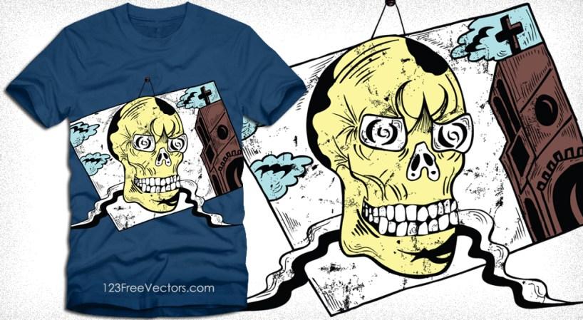 Vintage Skull Portrait T-Shirt Design Vector Graphics