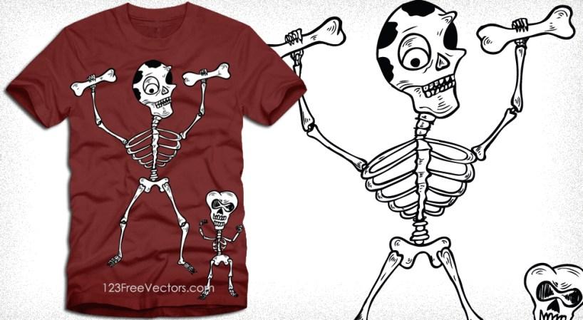 Dancing Skeletons Tee Shirt Design Vector