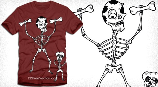 Dancing Skeletons Tee Shirt Design Vector