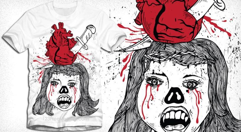 Vampire Girl with Bleeding Heart Pierced by Knife Vector Tee Design