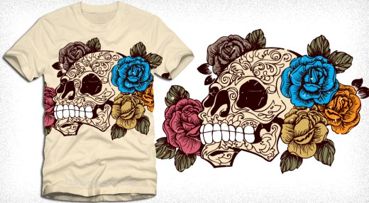 Sugar Skull with Roses T-Shirt Design Vector