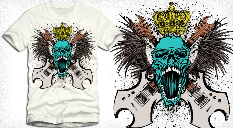 Rock Music Skull with Guitars, Wings and Crown Vector Art T-Shirt