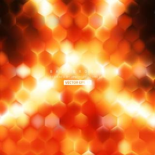 Abstract Black Orange Fire Hexagonal Background Design