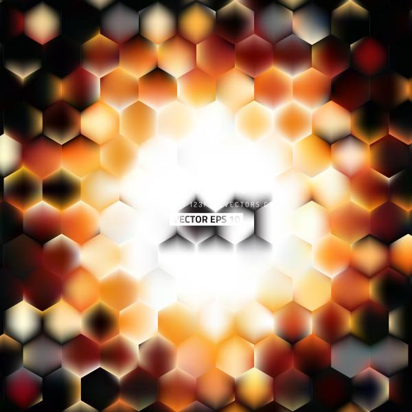 Black Orange Fire Hexagonal Background Design