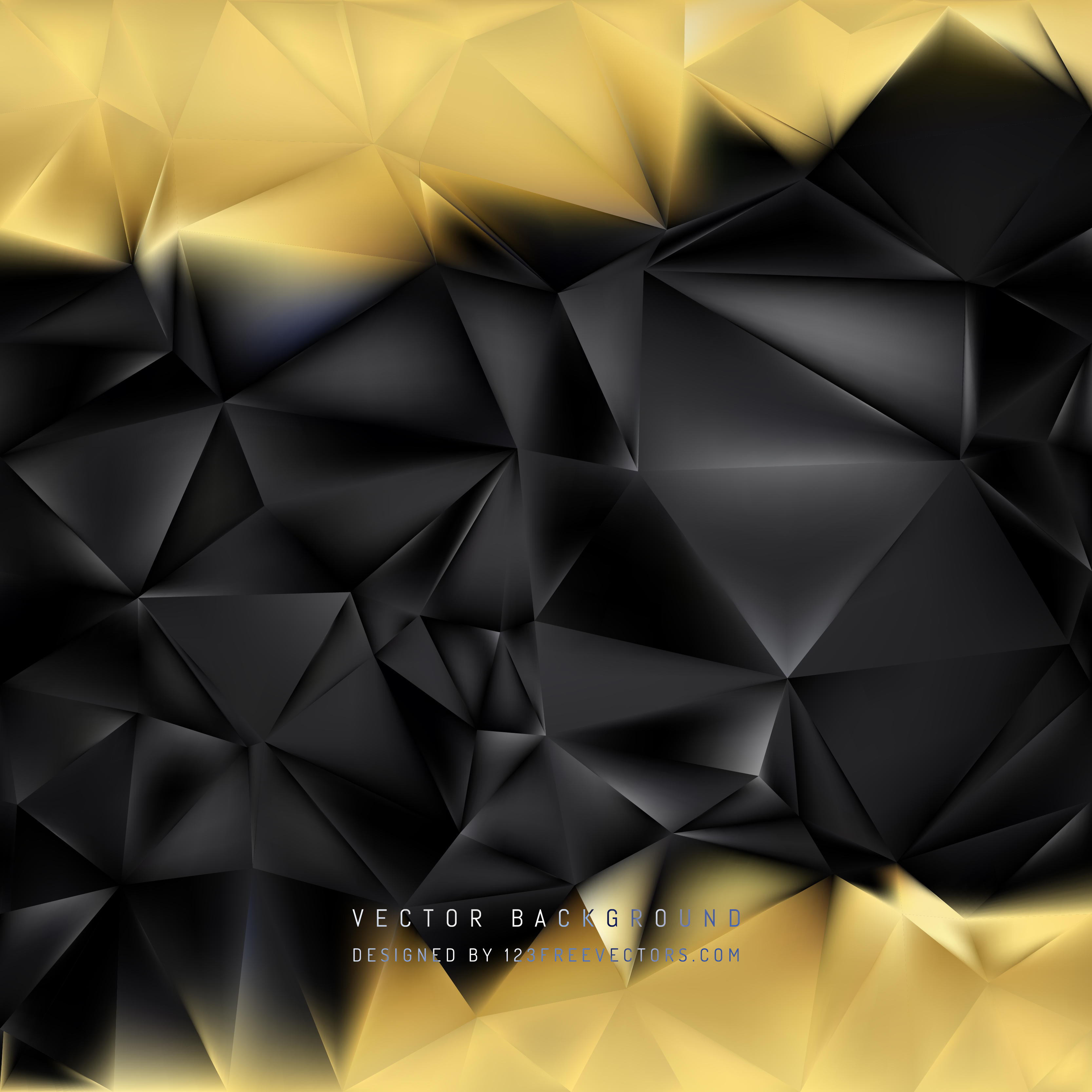 Abstract Black Gold Polygonal Background Design