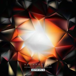 Black Orange Fire Geometric Polygon Background