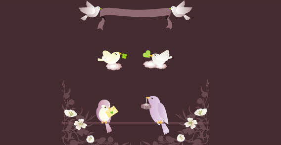 Banner with Love Birds