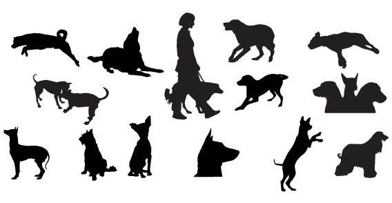 dog silhouettes free vector 123freevectors
