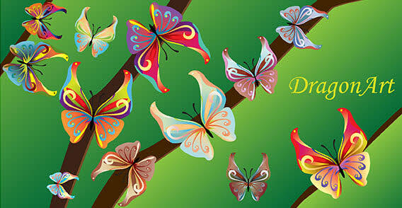 Colorful Butterflies Free Vector