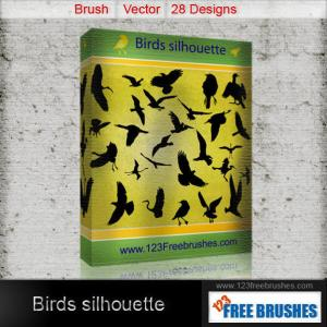 Flying Birds Silhouettes Free Vector and Photoshop Brush Pack