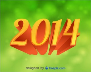2014 Background Green Bokeh 3D Text Free Vector