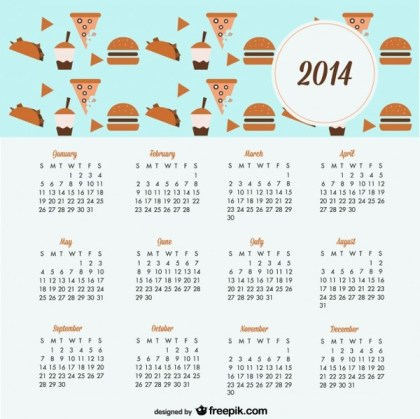 2014 Calendar Cookies and Sweets Design Free Vector