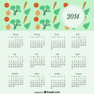 2014 Calendar Fruits and Vegetables Healthy Lifestyle Design Free Vector