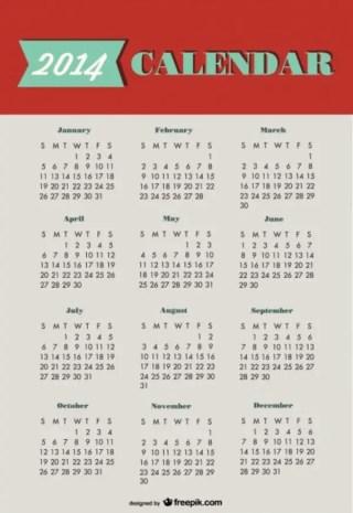2014 Calendar Green Red Design Free Vector