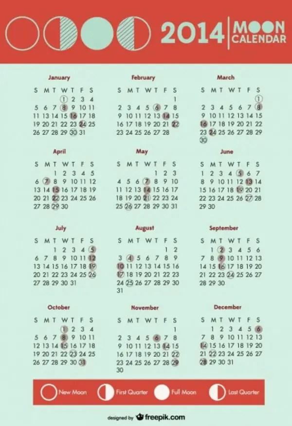 2014 Calendar Moon Phases Symbols Free Vector