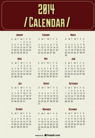 2014 Calendar New Year Planning Free Vector