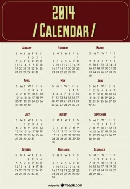 2014 Calendar New Year Planning Free Vector