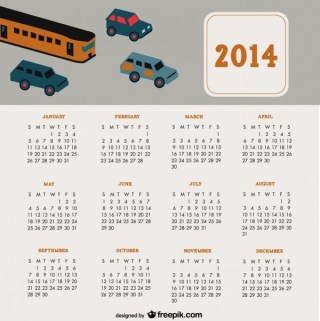 2014 Calendar Travel Cars Design Free Vector