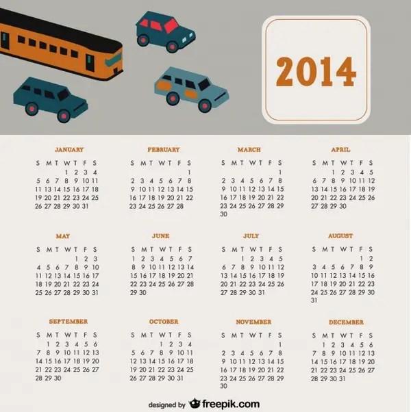 2014 Calendar Travel Cars Design Free Vector