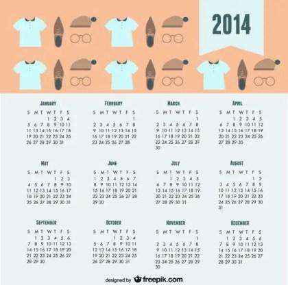 2014 Calendar Trendy Fashion Look Free Vector