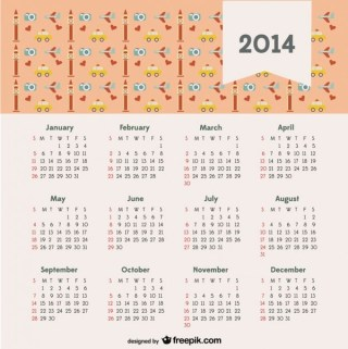 2014 Calendar with Travel Concept London Free Vector