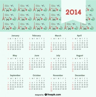 2014 Calendar with Travel Concept Paris City of Love Free Vector