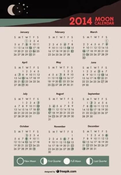 2014 Moon Calendar Lunar Phases Free Vector