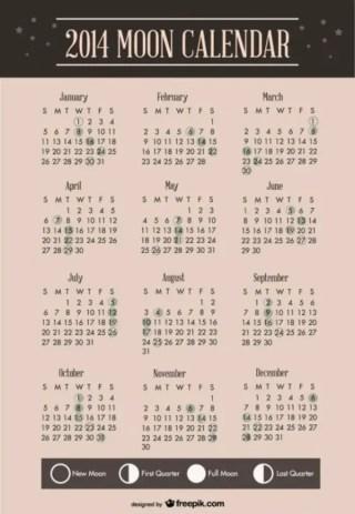 2014 Moon Calendar Template Design Free Vector