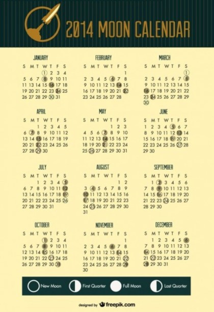 2014 Moon Phases Calendar Space Rocket Header Free Vector