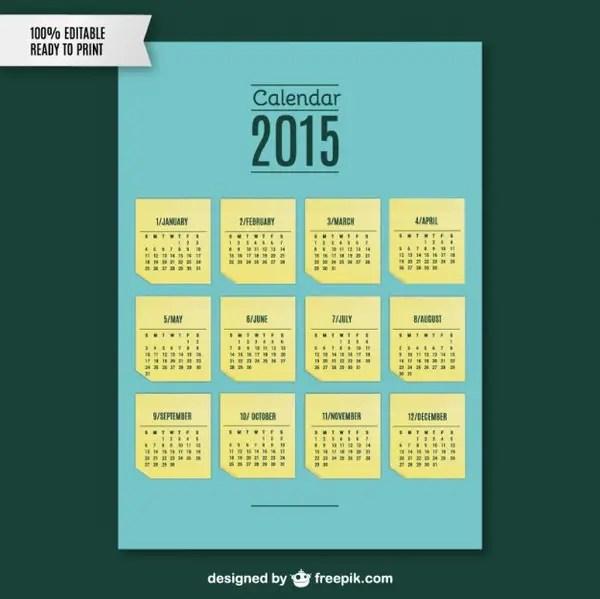 2015 Calendar Note Template Free Vector