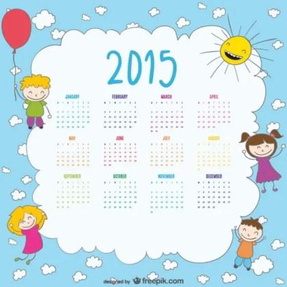 2015 Calendar of Happy Kids Drawing Free Vector