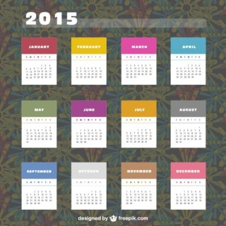 2015 Calendar with Colorful Labels Free Vector