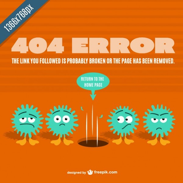 404 Error Cartoon Template Free Vector