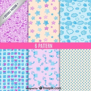 6 Patterns Doodle Style Free Vector