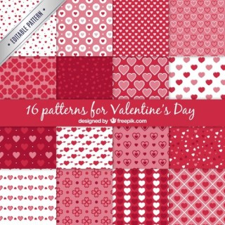 A Set of 16 Patterns for Valentines Day Free Vector