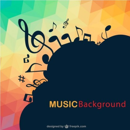 Abstract Music Notes Triangle Background Free Vector