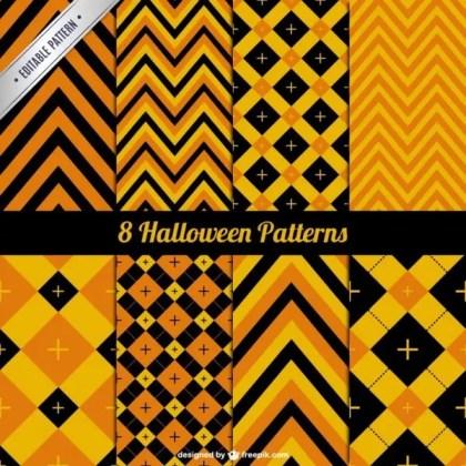 Abstract Orange Halloween Pattern Pack Free Vector