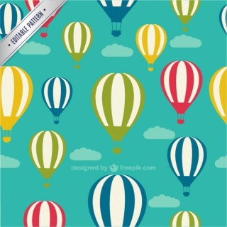 Air Balloons Seamless Pattern Free Vector