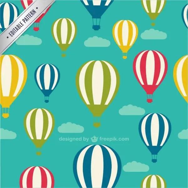 Air Balloons Seamless Pattern Free Vector