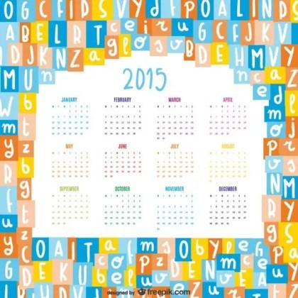 Alphabet Letters Mix 2015 Calendar Free Vector