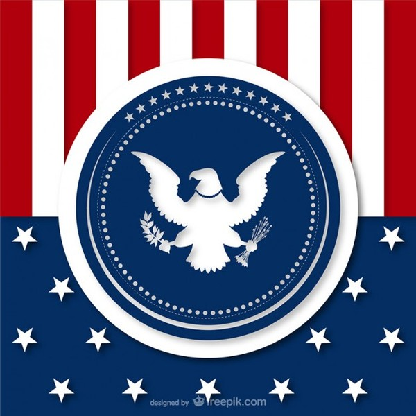 American Background with Eagle Silhouette Free Vector