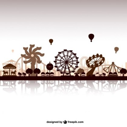 Amusement Park Skyline Free Vector
