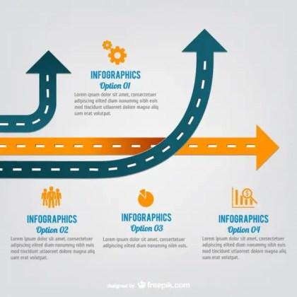 Arrow Roads Infographic Free Vector