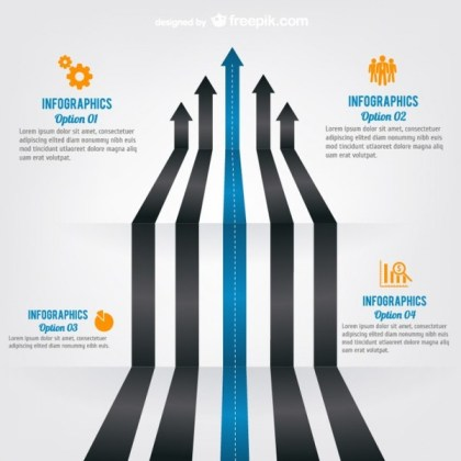 Arrow Roads Infographic Template Free Vector
