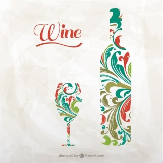 Artistic Wine Bottle and Glass Free Vector