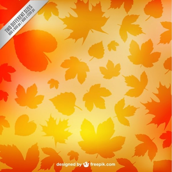 Autumn Leaves Silhouettes Pattern Free Vector
