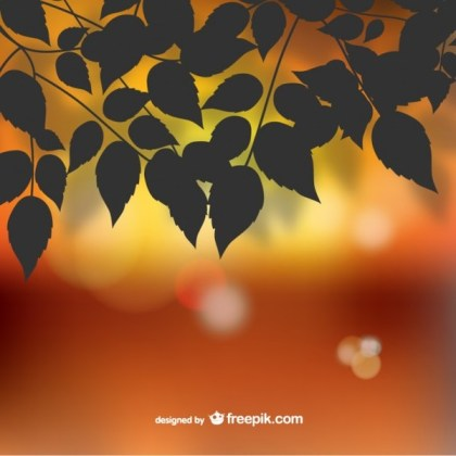 Autumn Silhouette Leaves Bokeh Background Free Vector