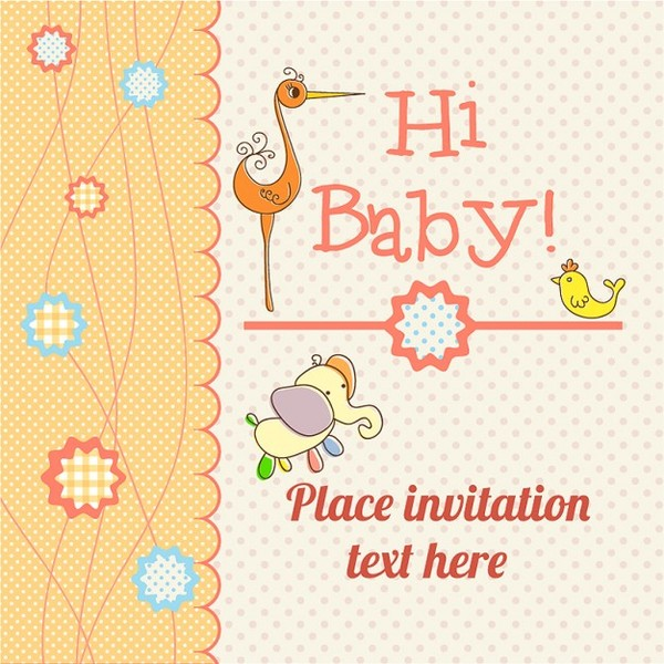 Baby Card Announcement Free Download Free Vector