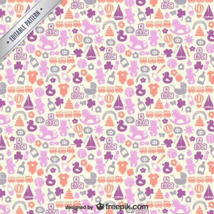 Baby Icons Pattern Free Vector